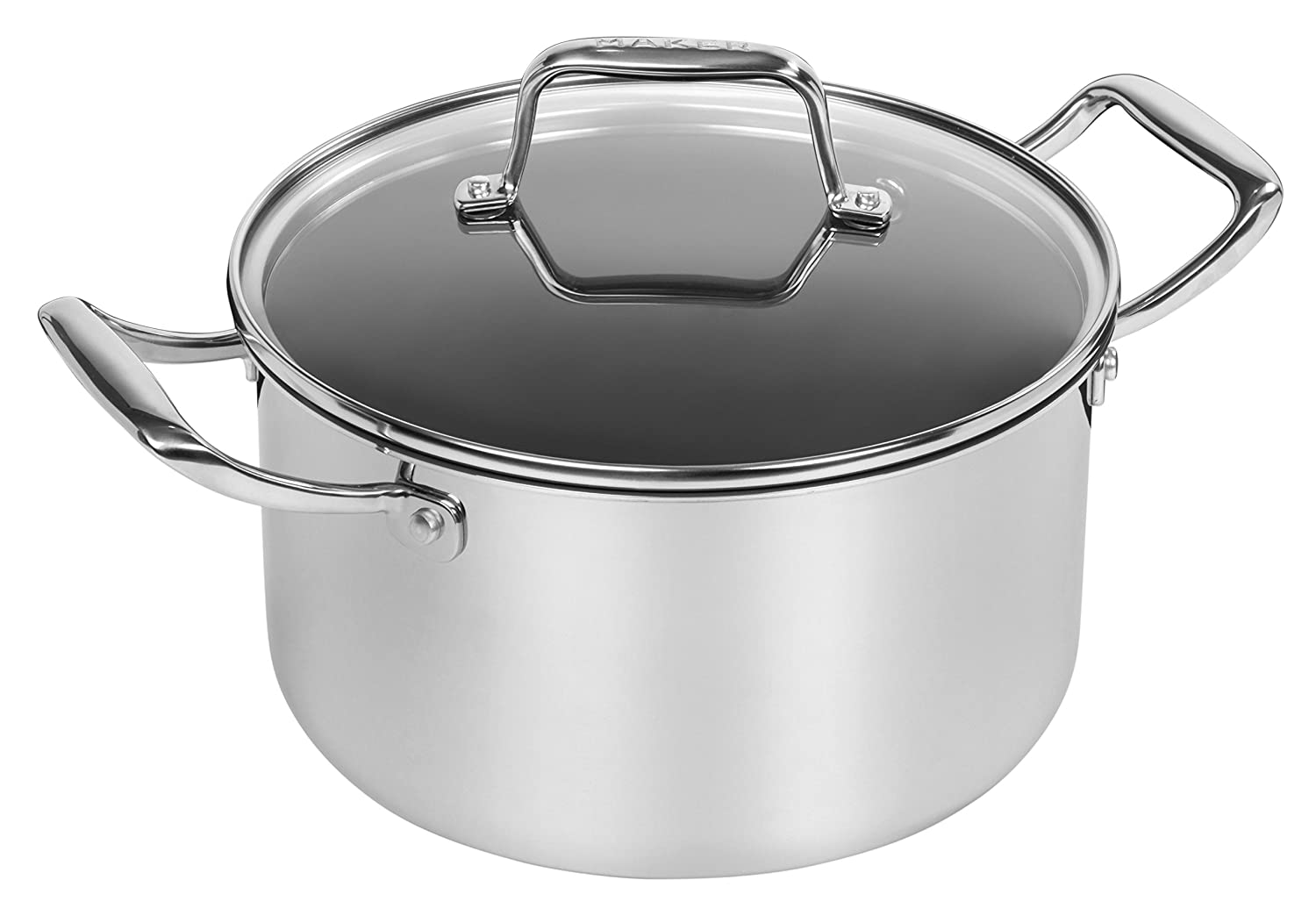 MAKER Homeware 5 Quart Stainless Steel Covered Dutch Oven with Nonstick Ceramic Coating