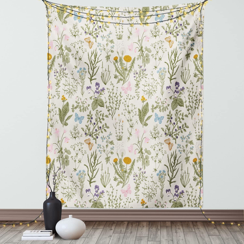 Ambesonne Floral Tapestry, Vintage Garden Plants Herbs Flowers Botanical Classic Design, Wall Hanging for Bedroom Living Room Dorm Decor, 40