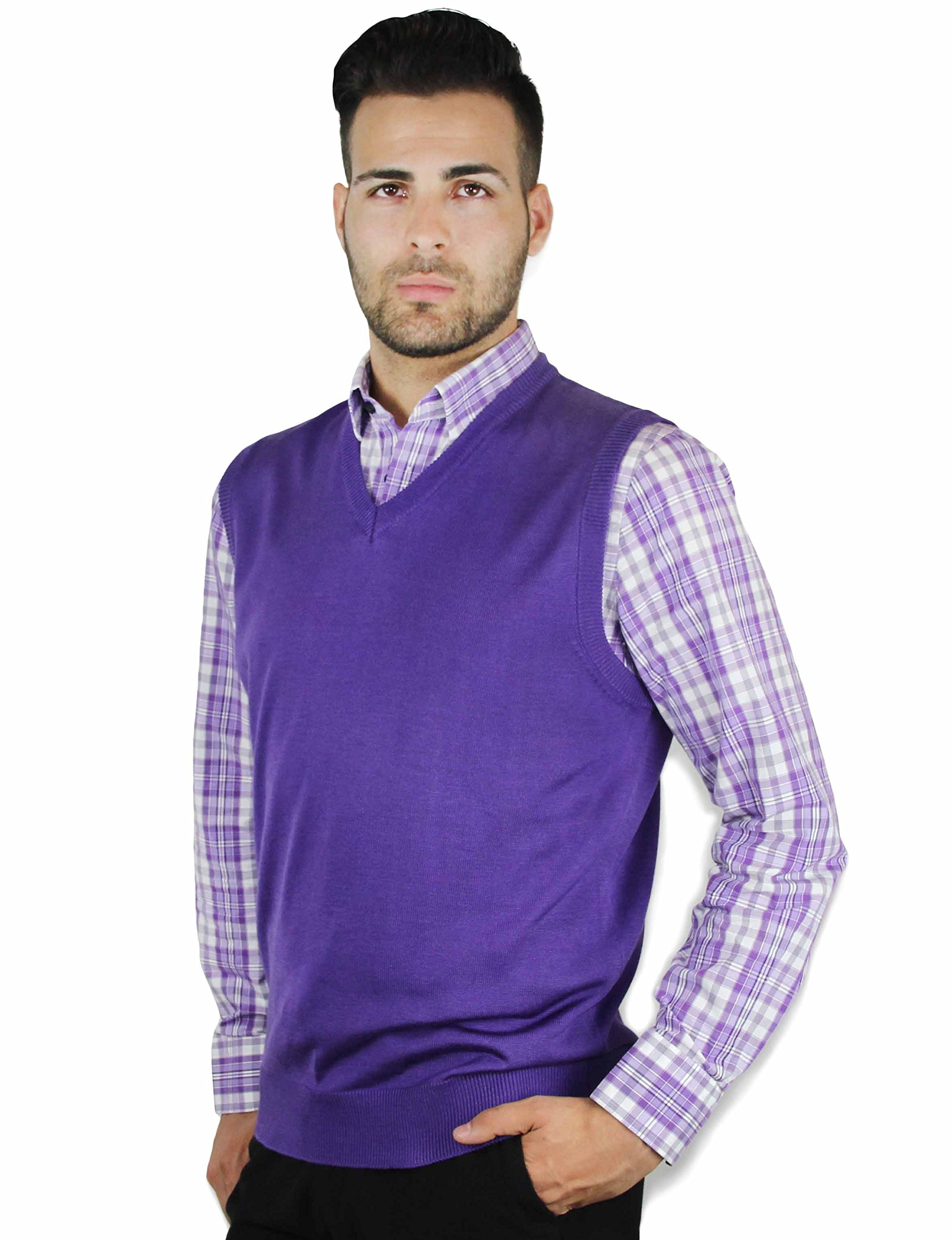 Blue Ocean Solid Color Sweater Vest Purple X-Large by Blue Ocean