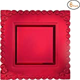 Amazon.com: 13 in. Red Square Charger Plates 4/pack: Home & Kitchen