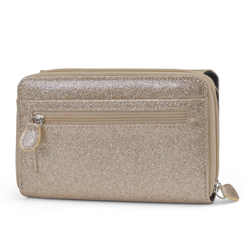 Mundi Big Fat Wallet Womens RFID Blocking Wallet Card Carrier Clutch Organizer (Gold (Glitter)) by Mundi (Image #5)