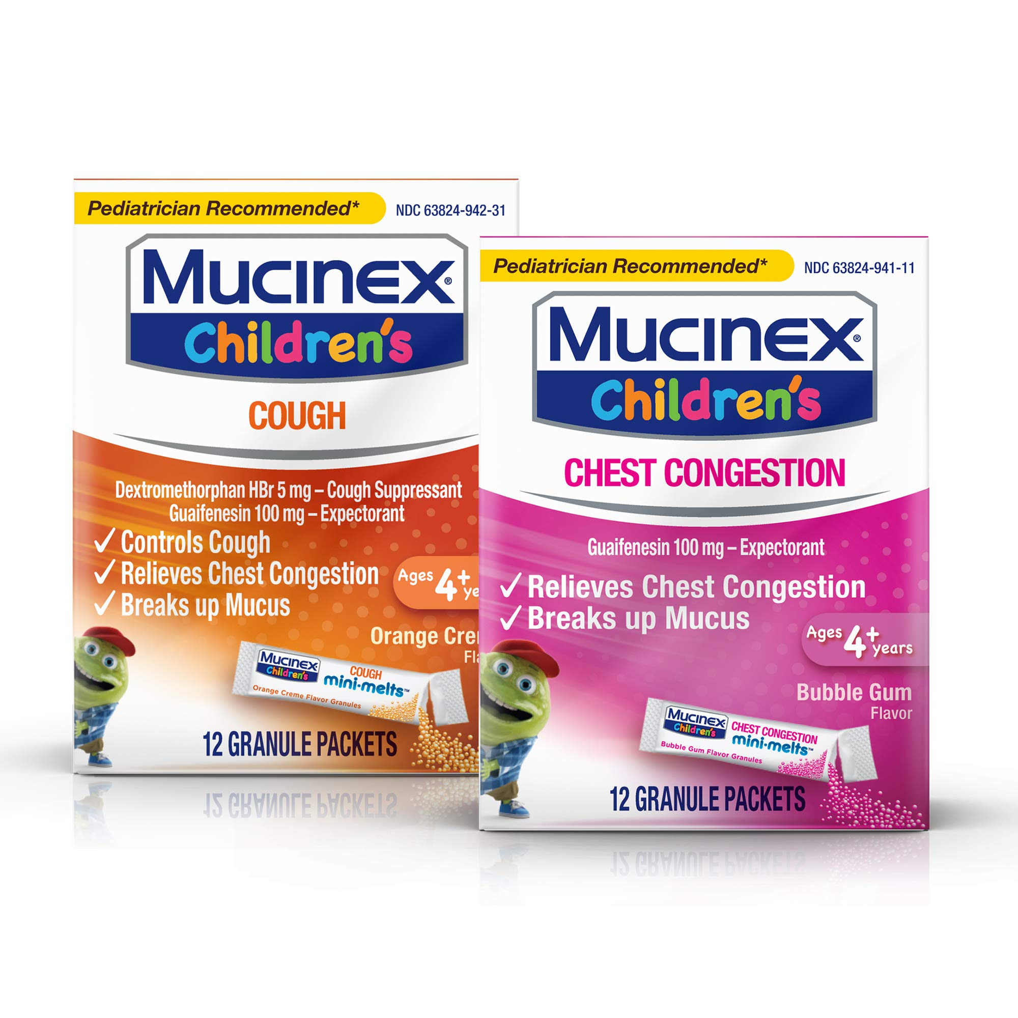 Mucinex Children's Mini Melts Chest Congestion Expectorant Bubble Gum 12 Ct & Cough Suppressant Orange Creme 12 Ct Packets, 1 Ea (Packaging May Vary) by Mucinex
