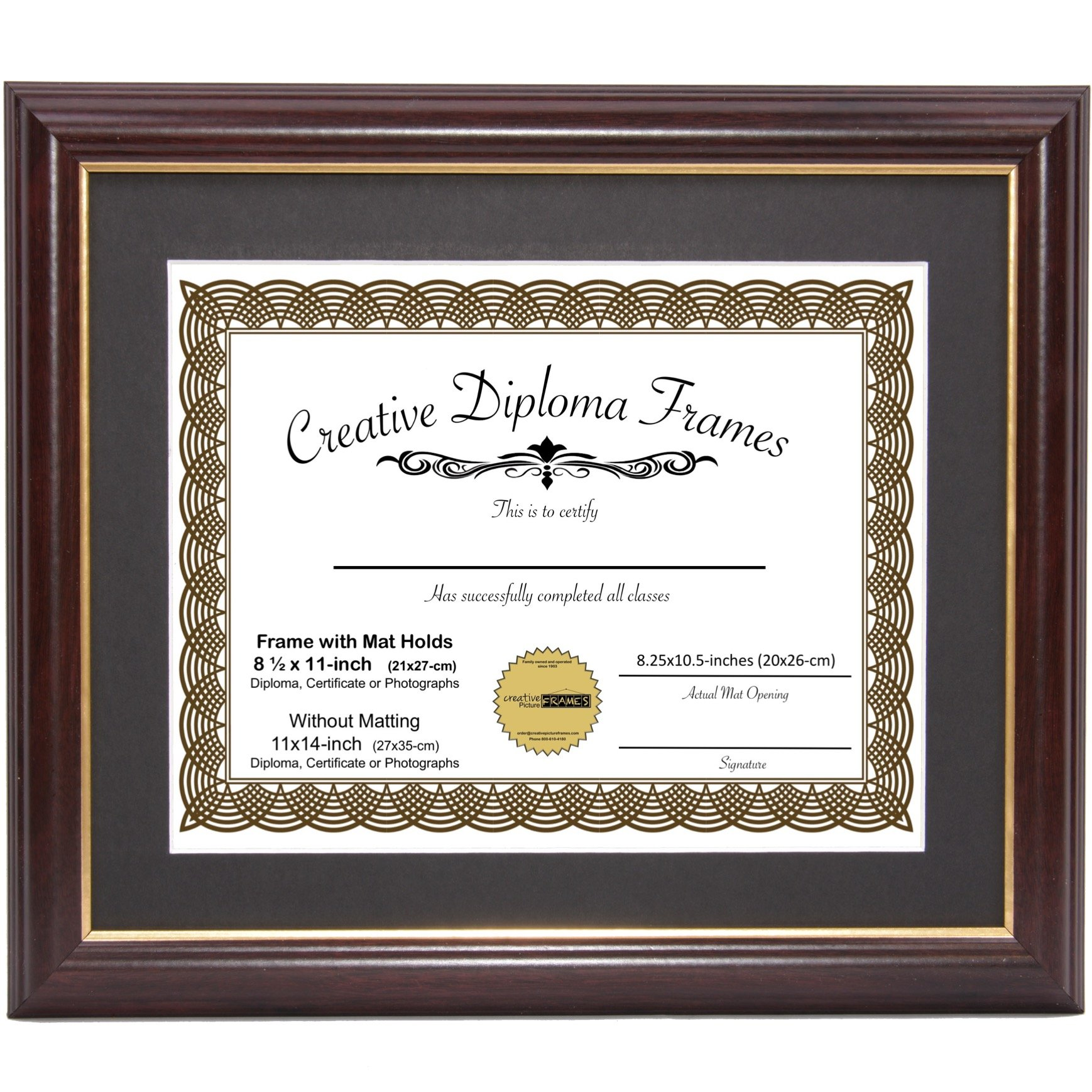 CreativePF [11x14mh.gd] Mahogany Frame Gold Rim, Black Matting Holds 8.5 11-inch Diploma Easel Installed Hangers