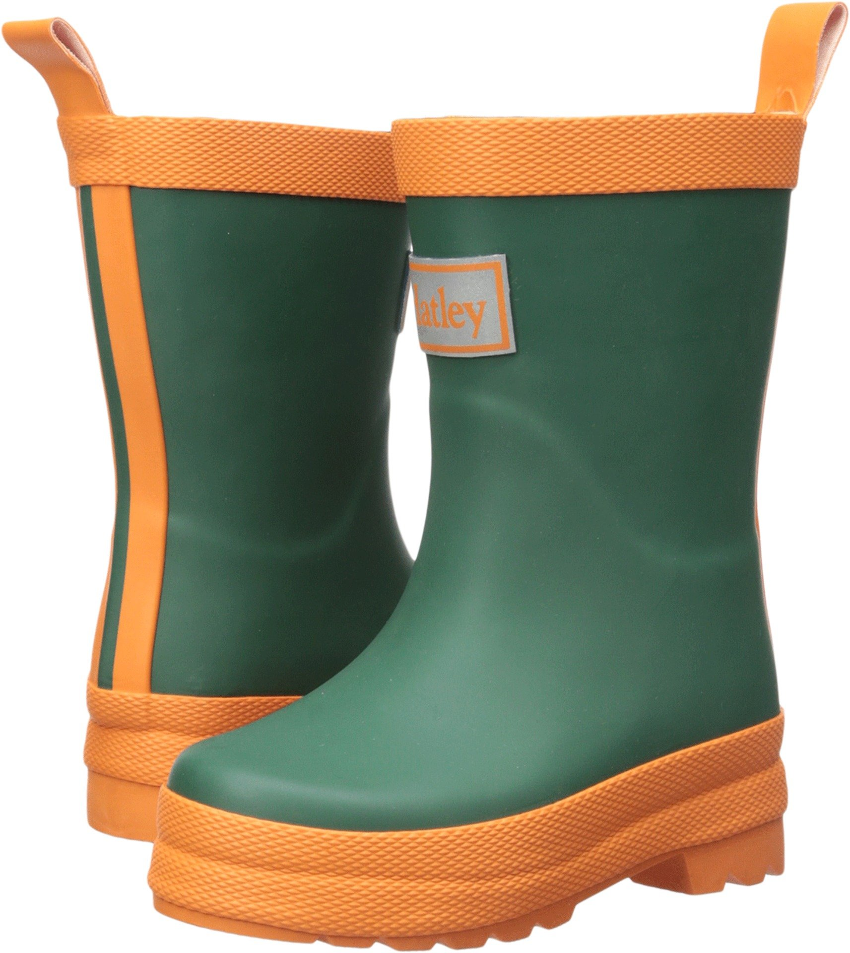 Hatley Kids' Classic Boots Rain Accessory, Green and Orange, 5 M US Toddler