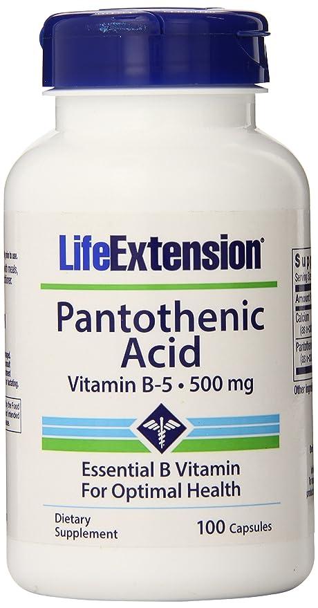 Ácido pantoténico Vitamina B-5, 500 mg, 100 Cápsulas - Extensión de la