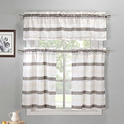 DUCK RIVER TEXTILES - Akua Solid Kitchen Window Curtain Tier & Valance Set, 2 30 X 36 Inch | 1 60 X 16 Inch, Brown & Beige