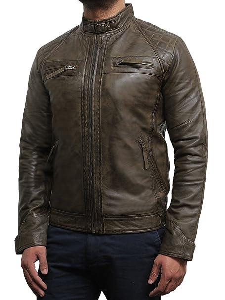 Brandslock De cuero para hombre de la vendimia bombardero chaqueta de motociclista