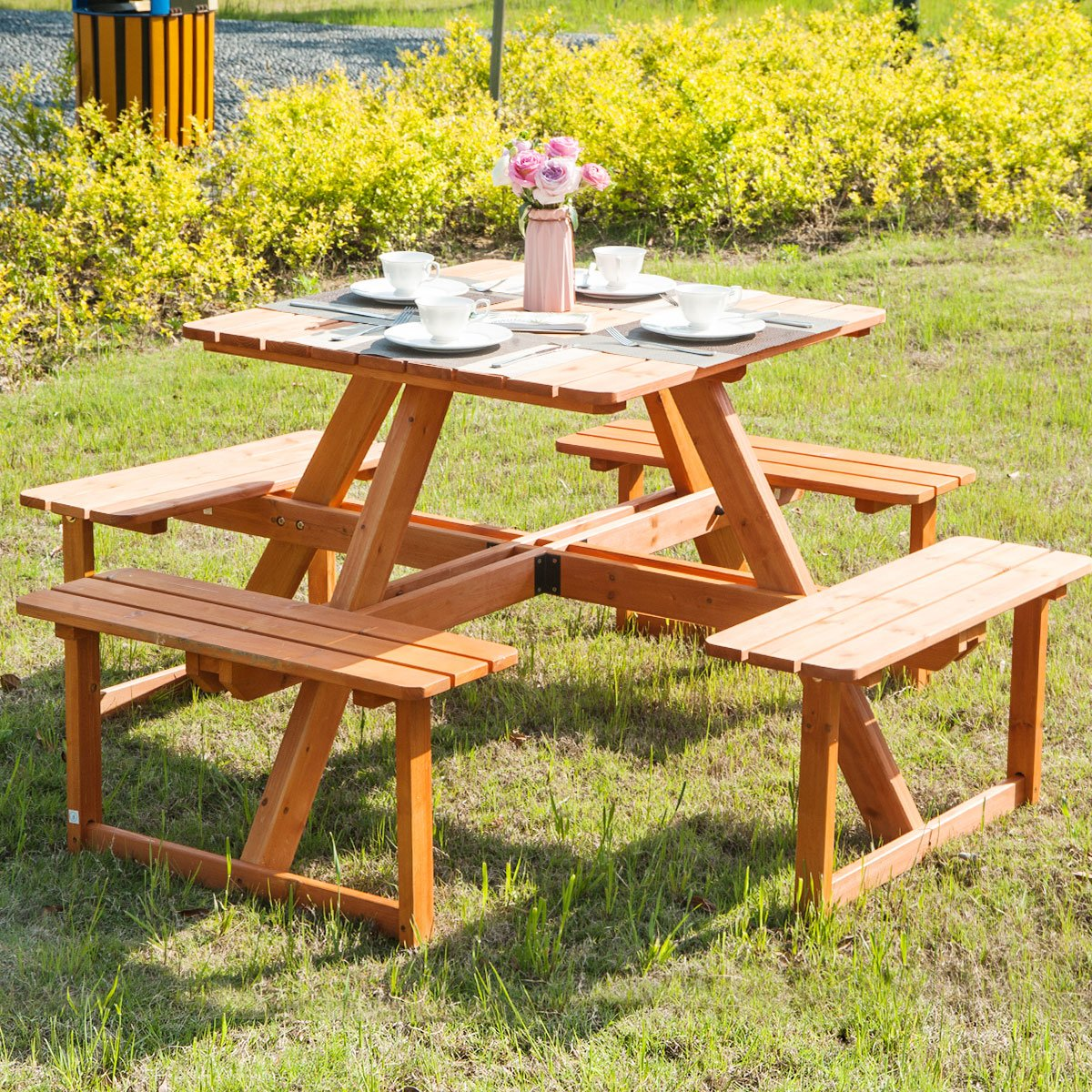 Amazoncom Merax Pine Wood Round Picnic Table And Benches Natural - How to stain a picnic table