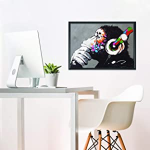 Banksy Monkey Graffiti Wall Art Poster for Guys - Gamer Room Music Decor - Cuadros De Pared De Sala Modernos Pare Decorativos - 22x16 inches