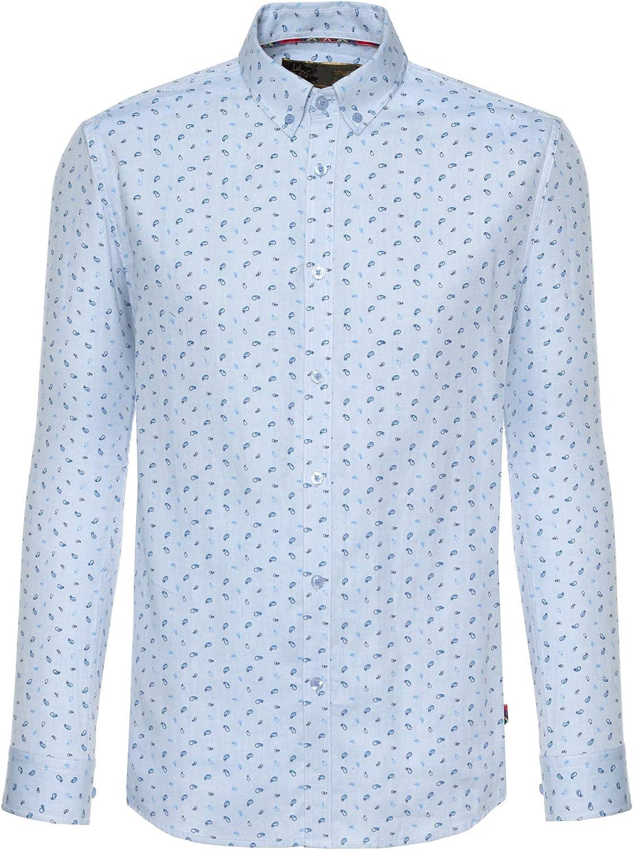 merc - Camisa casual - Manga larga - para hombre Azul azul M: Amazon.es: Ropa y accesorios