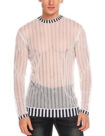 7e5a2090dee Amazon.com  JINIDU Mens Sexy Mesh Sheer See Through Long Sleeve Tops ...