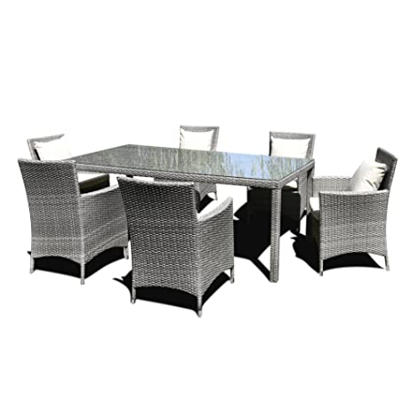 Amazon.com : Oakville 7-Piece Outdoor Patio Rattan Wicker Dining Set ...