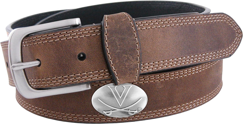 NCAA Virginia Cavaliers Light Crazy Horse Leather Concho Belt