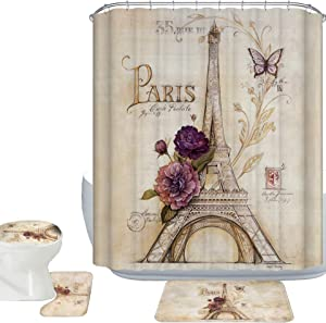 Amagical 16 Piece Vintage Paris Brown Eiffel Tower Shower Curtain Set Bathroom Mat Set Purple Flower Butterfly Bath Mat Contour Mat Toilet Cover and Shower Curtain with 12 Hooks