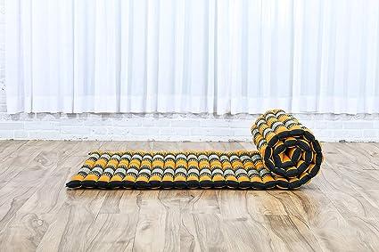 Leewadee Colchoneta Thai Enrollable, 200x76x5 cm, Colchón De Invitados Esterilla De Yoga Futon Masaje Thai Colchoneta De Dormir Orgánico Naturalmente ...