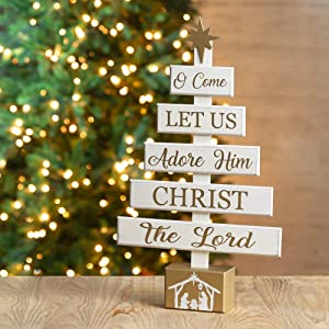 Glitzhome Christmas Table Decorations 17.83 Inches Wooden Christmas Tree Table Decor Country Christmas Table Centeropiece Rustic Xmas Desk Decoration
