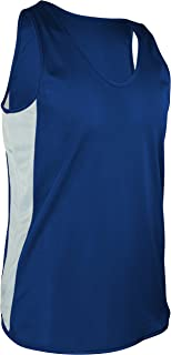 product image for TR-980Y-CB Boy's and Girl's Lightweight Single Ply Track Singlet with Side Panels (X-Large, Royal/White)