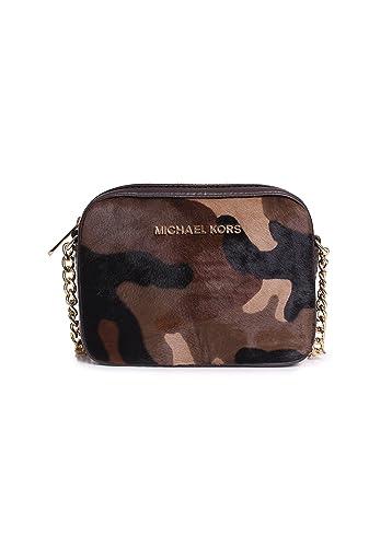 michael kors camo haircalf jet set crossbody in duffle handbags rh amazon com