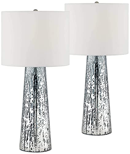 Marcus Coastal Table Lamps Set of 2 Mercury Glass Tapered Column White Drum Shade for Living Room Family Bedroom – 360 Lighting