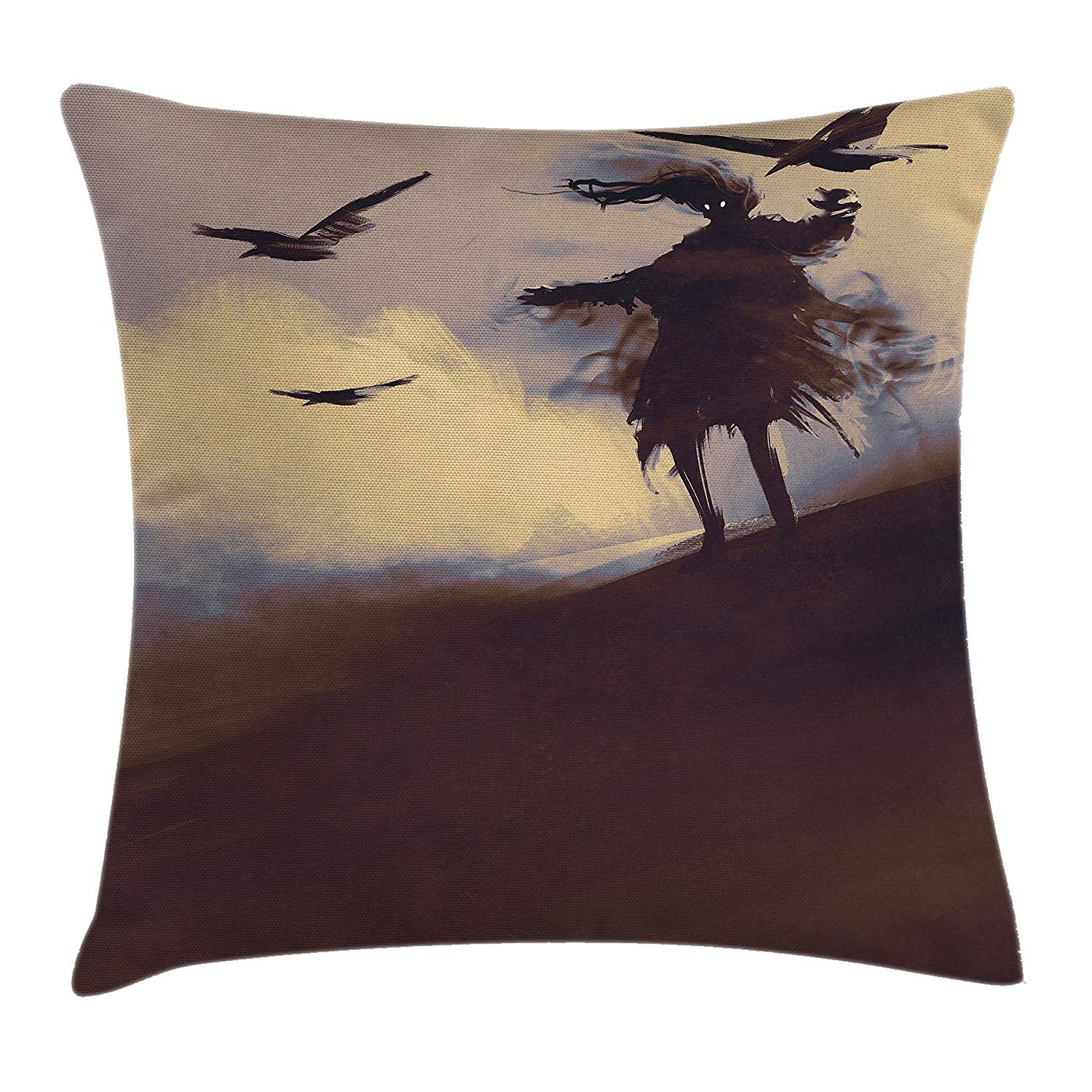 Queen Area Horror Dark Soul From a Scary Movie on the Hills Clouds Flying Crows Print Square Throw Pillow Covers Cushion Case Sofa Bedroom Car 18x18 Inch, Brown Mauve Begie
