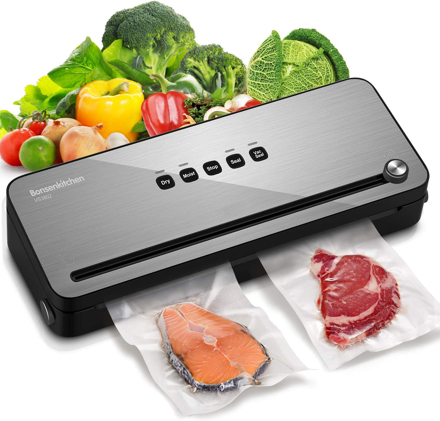 Bonsenkitchen Vacuum Sealer Machine, Automatic Vacuum Air Sealing System with Dry & Moist Food Modes and One Roll Starter Kit Vacuum Sealing Bags For Food Preservation and Sous Vide (VS3802-Black)