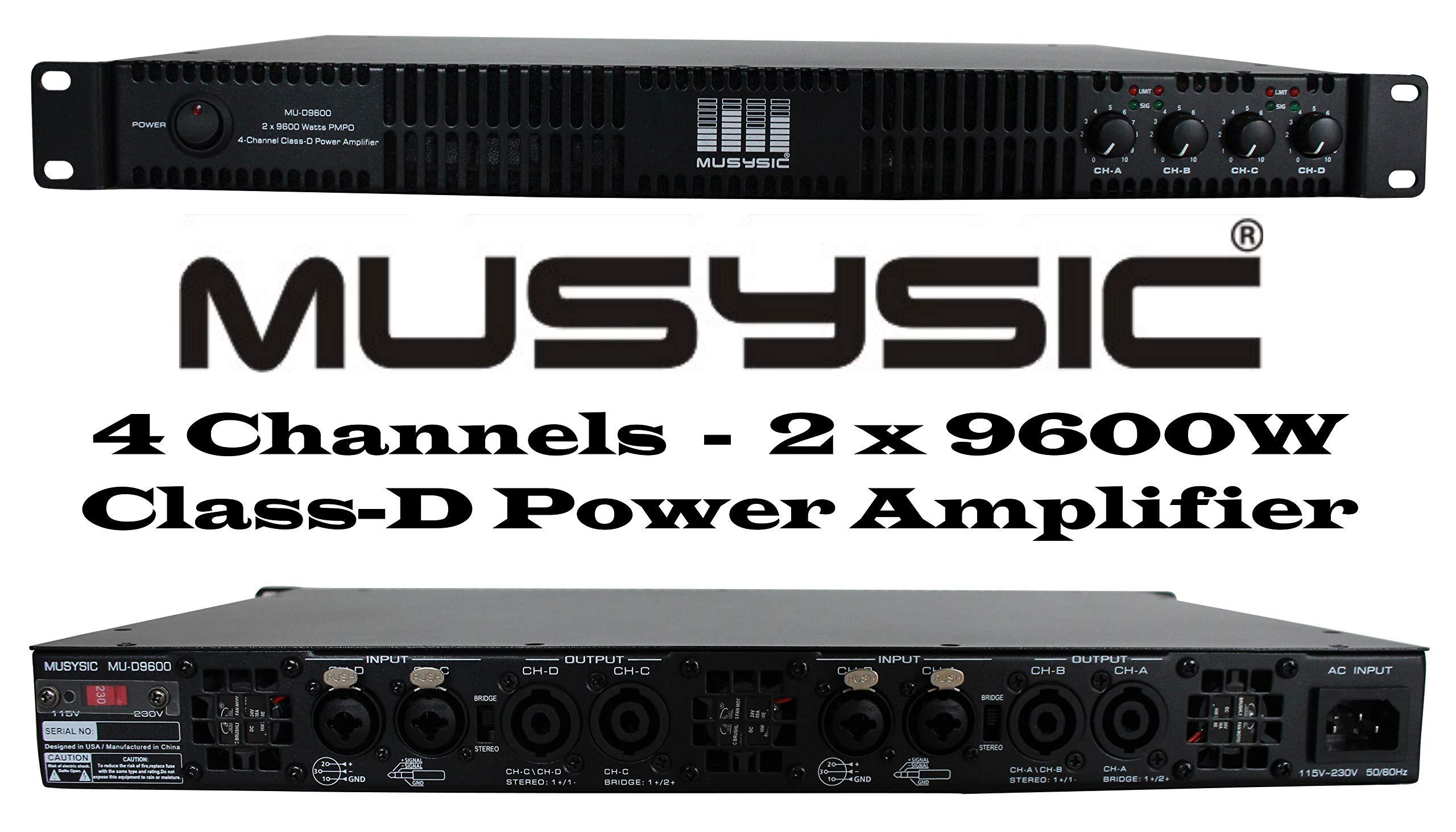 MUSYSIC MU-D9600 Professional 4-Channels 2x9600 Watts D-Class 1U Power Amplifier by MUSYSIC