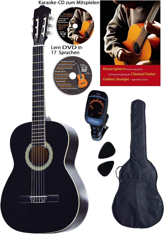 Guitarra de concierto 4/4, negra, con diapasón y puente de Rosewood, con tapas de abeto, DVD de aprendizaje, CD de karaoke, cancionero, funda acolchada con correas de espalda, 2 púas, afinador digital