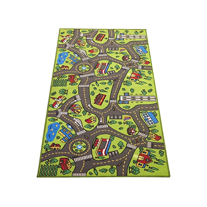 "Extra Large 79"" x 40""! Kids Carpet Playmat Rug City Life -Great For Playing With Cars & Toys - Play Safe Learn Educational & Have Fun -Ideal Gift For Children Baby Bedroom Play Room Game Play Mat Area"