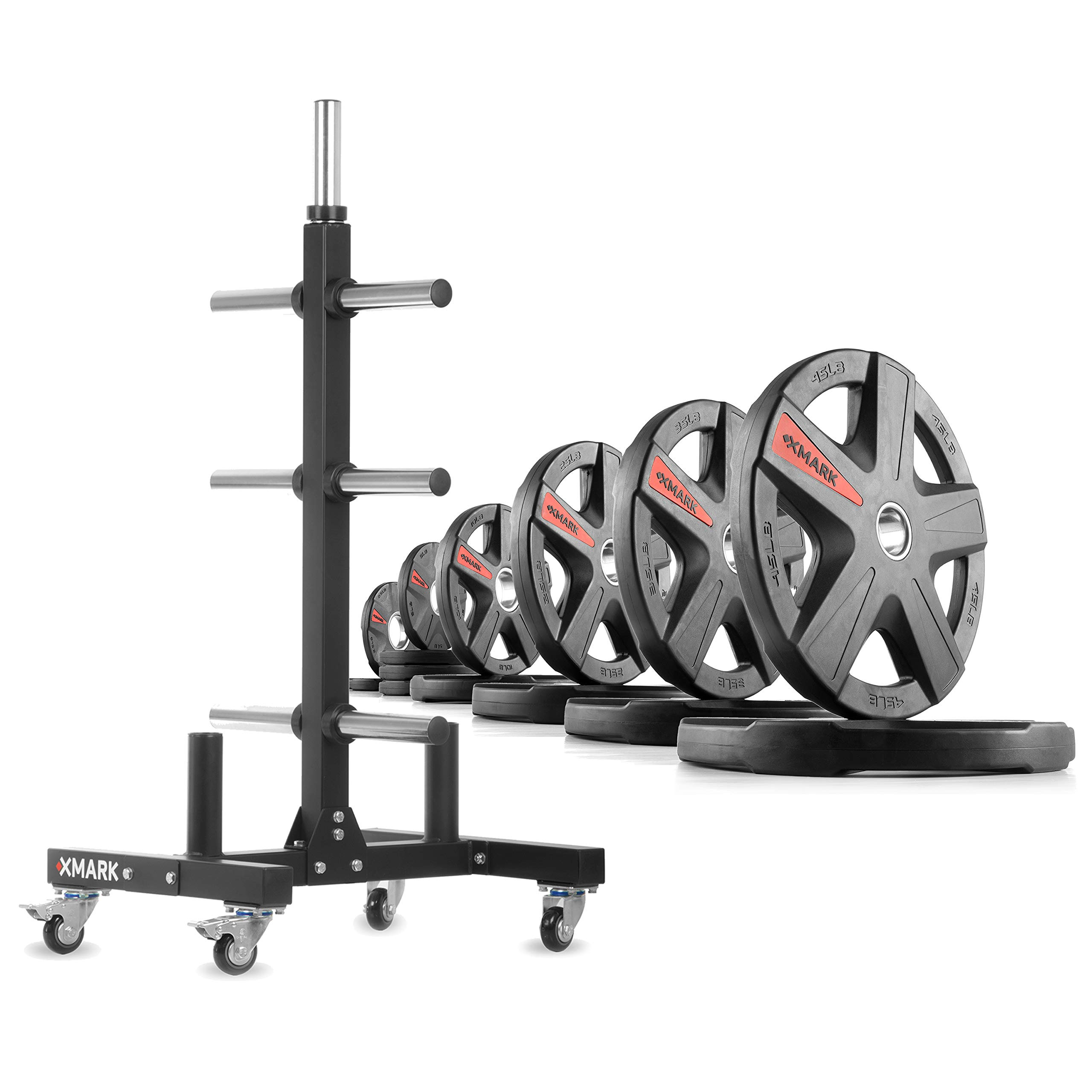 XMark XM-9055 Commerical Olympic Weight Tree Plus a 255 lb Set of Texas Star Olympic Plates