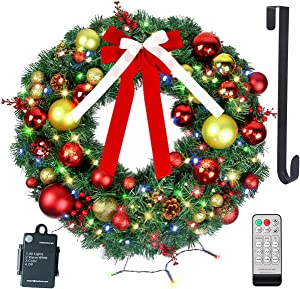 """24"""" Christmas Wreath with Remote LED String Lights - Prelit Xmas Door Wreath - Artificial Pine Garland - Battery Operated Lights with Timer - Including Wreath Hanger, Ornaments Decorations - 24 Inch"""