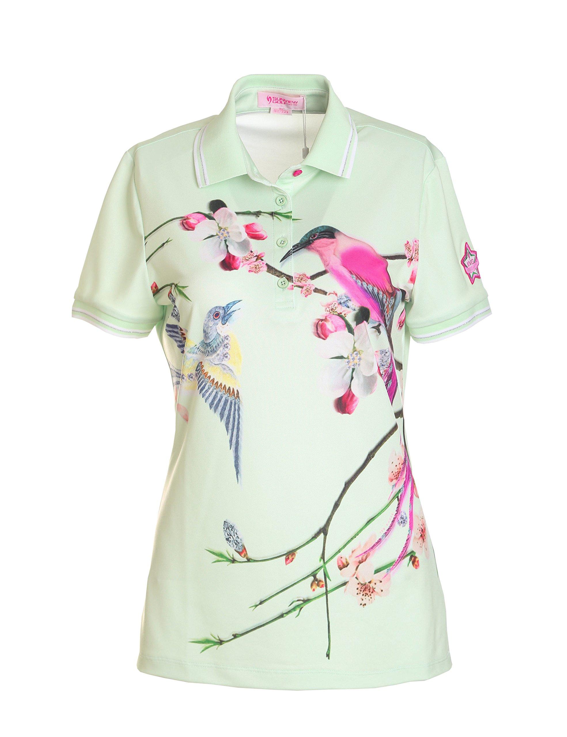 Women's Short Sleeve Polo Shirt Top Printed Summer Golf Shirt Green XS