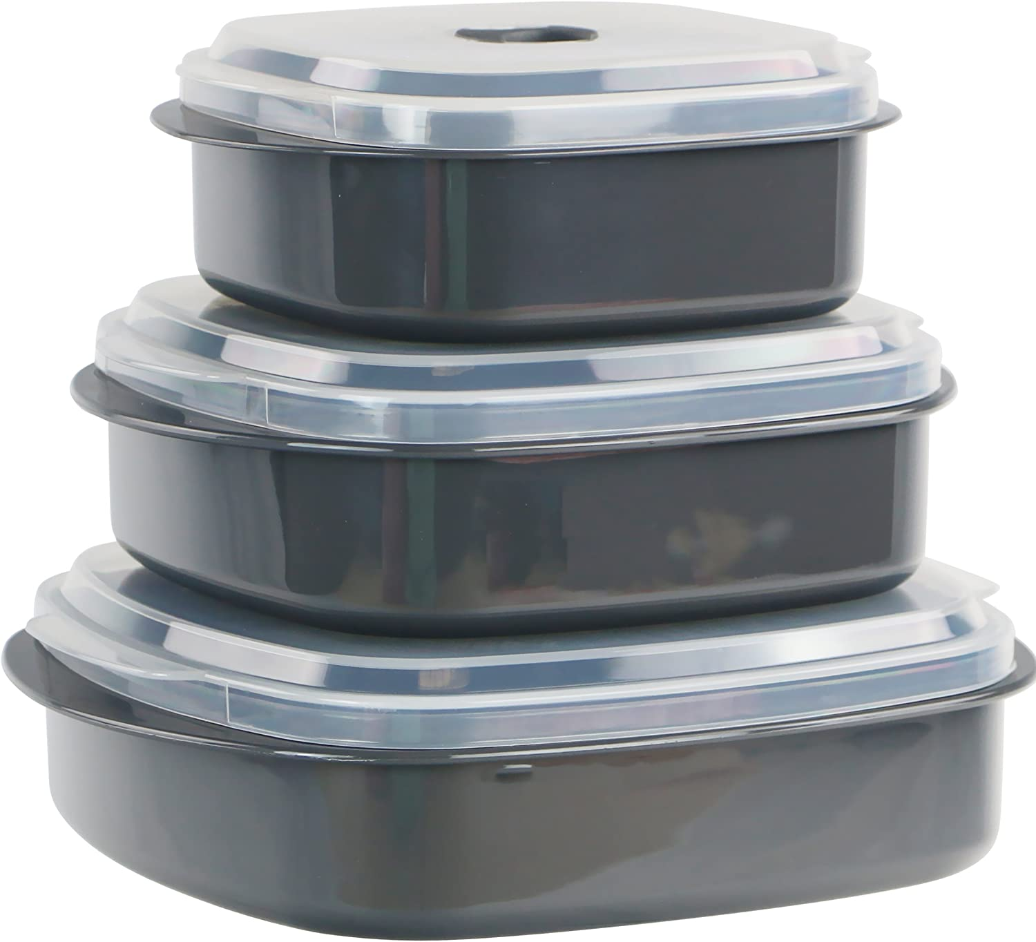 Reston Lloyd Calypso Basics 3-Piece Microwave Steamer Set Grey