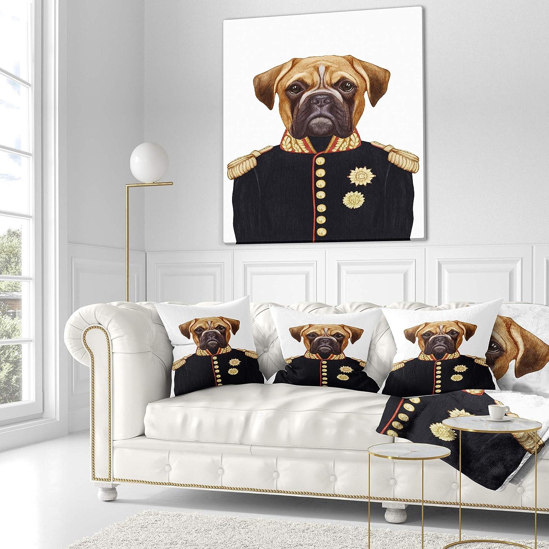 Sofa Throw Pillow 26 x 26 Designart CU13197-26-26 Funny Boxer Dog in Military Uniform Animal Cushion Cover for Living Room