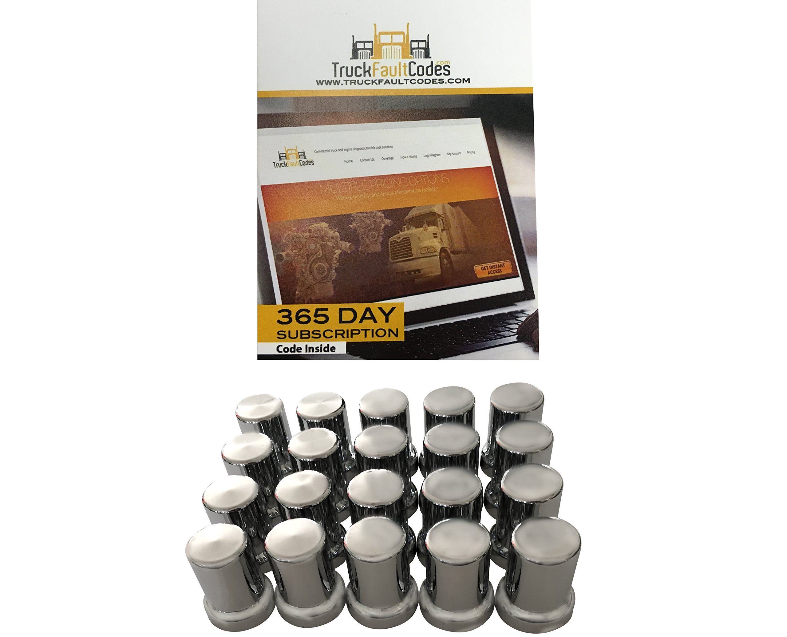 Diesel Laptops 20 Pack of 33mm x 3-3/8 Chrome Tower Tube Push on Nut Cover for Commercial Heavy Semi Trucks with 12-month Membership to TruckFaultCodes