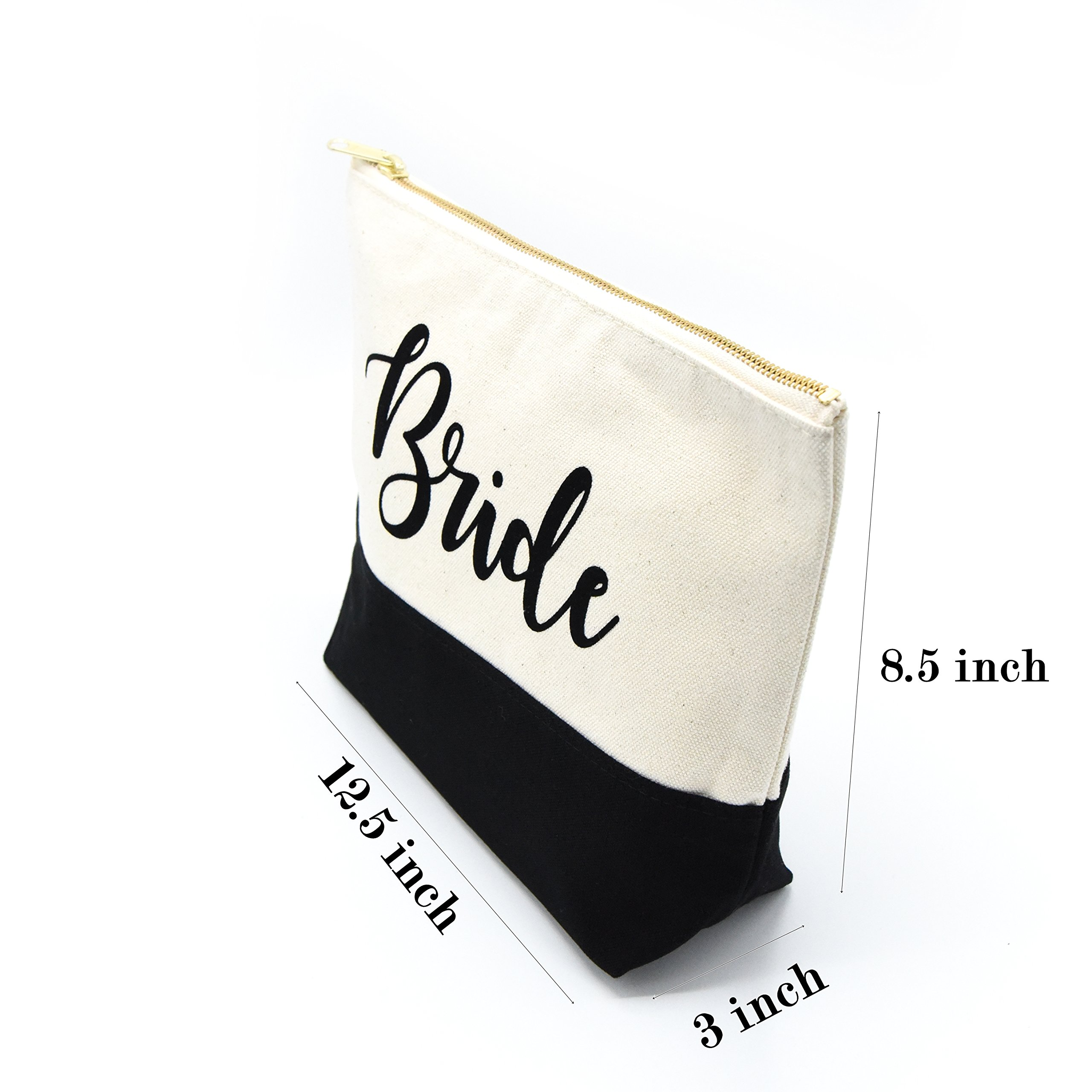 PumPumpz Personalized Gifts Wedding ''Bride'' Large Canvas Travel YKK Zipper Makeup Bag.''Which arrive you within 5 days'' (Bride Black) by PumPumpz (Image #6)