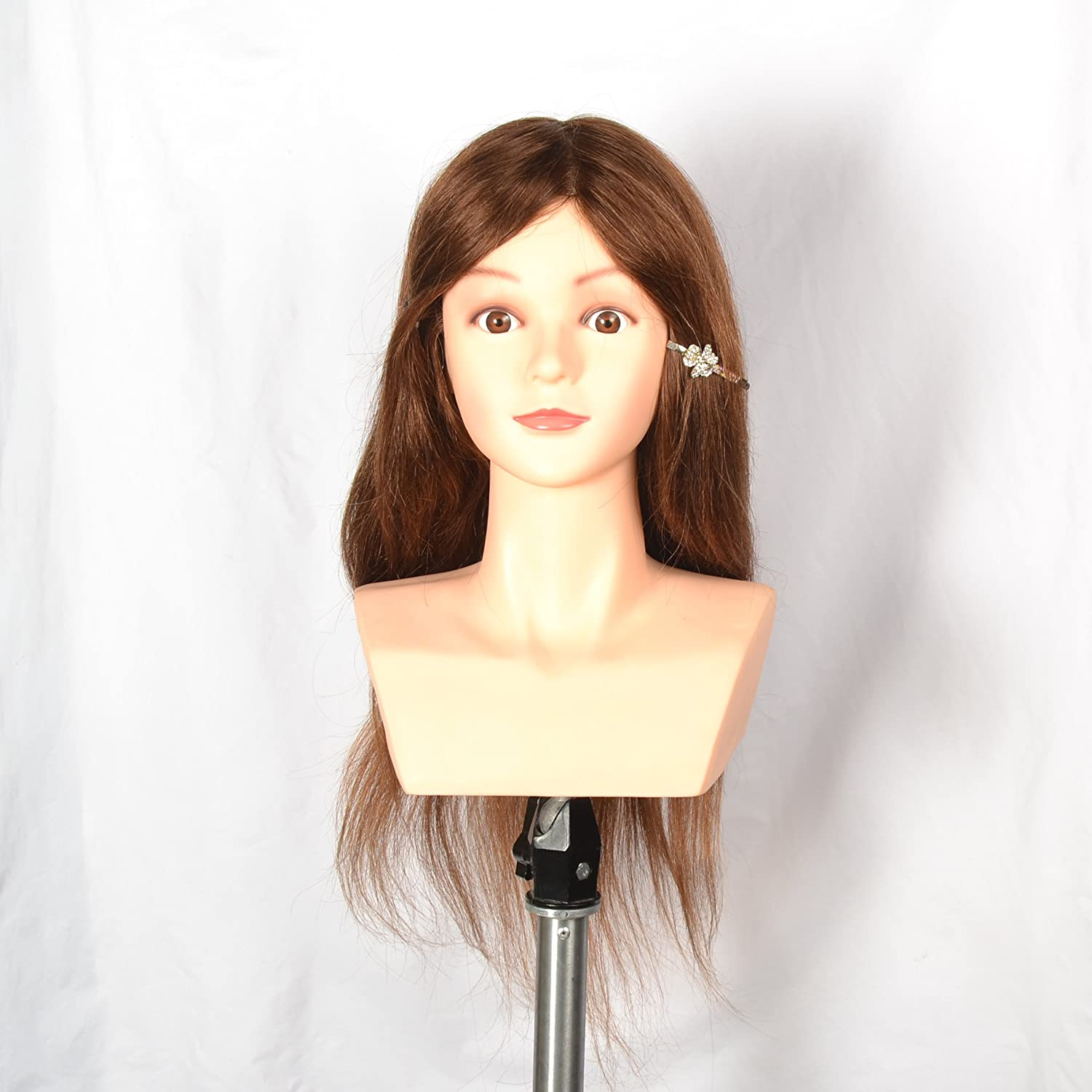 20 inches Hairdressing 100% Human Hair Shoulder Training Mannequin Head xf