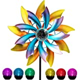MAGGIFT 57 Inch Solar Wind Spinner with Metal Garden Stake, Multi Color Changing LED Solar Powered Glass Ball, Outdoor Wind C