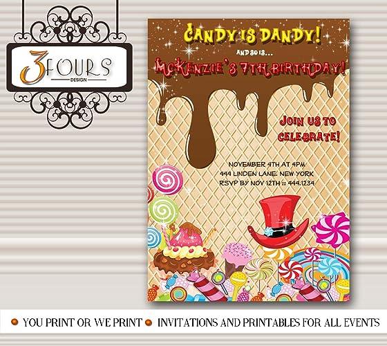 Amazon Com Willy Wonka Candyland Birthday Party Invitations Handmade