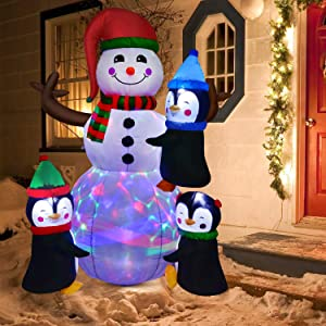 DearHouse 6Ft Lighted Christmas Inflatable Snowman with Three Cute Penguins, Building Color LED Lights Outdoor Indoor Holiday Decorations Blow up Yard Inflatables Home Decor