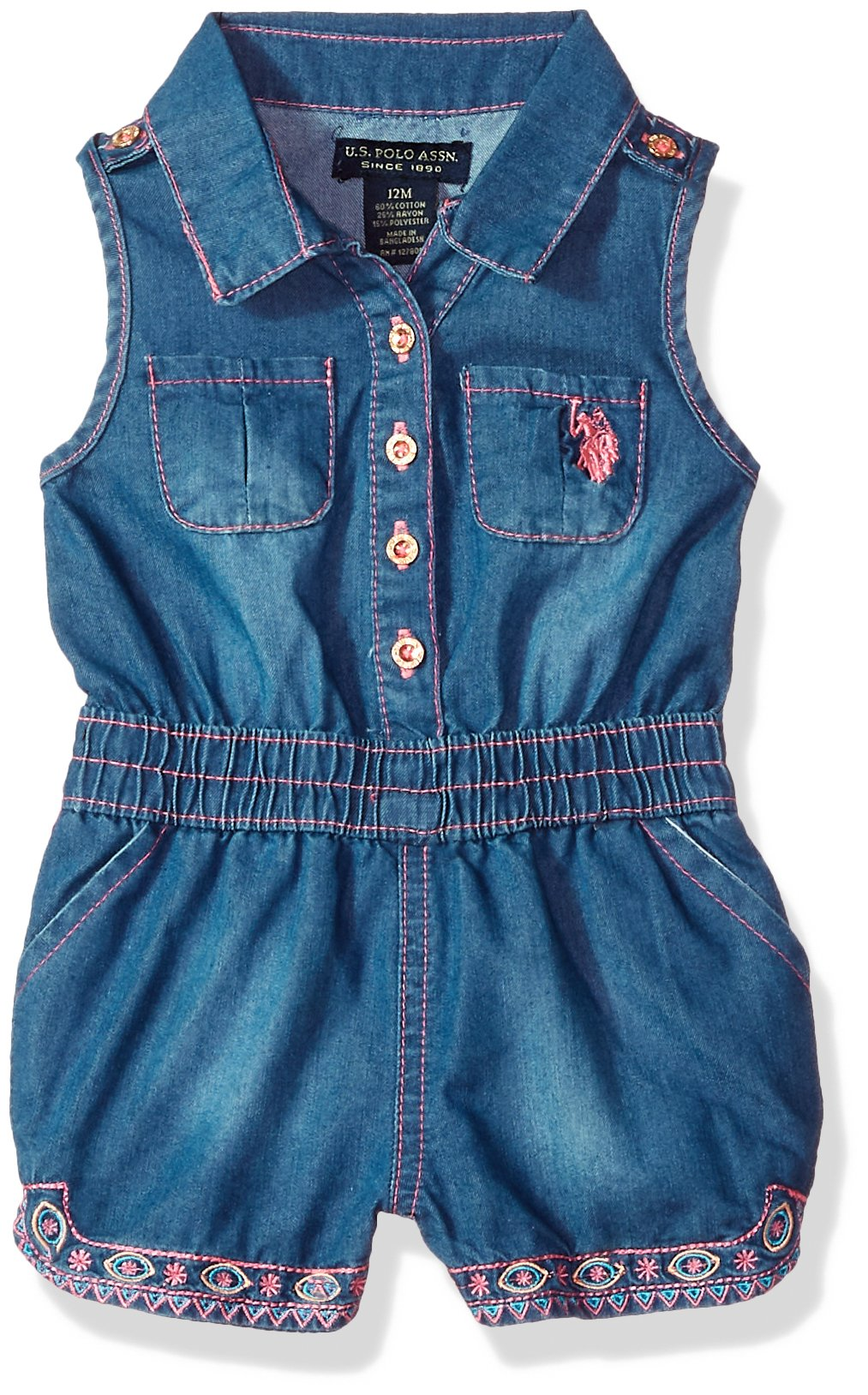 U.S. Polo Assn. Baby Girls Romper, Button Front