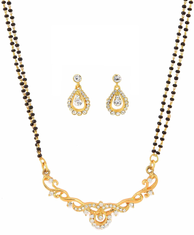 Touchstone Doré Indien Bollywood Ethnique Strass Blancs Pretty Mangalsutra Bijoux pour Femme FGNSL060-01A--Y