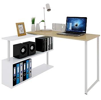 Woltu Mesa de Ordenador Escritorio Puede Girar el Angulo Mesa de Trabajo PC Mesa Portátil con Estantes 120x100x74cm (WxDxH) MDF Roble Claro TS65hei: ...