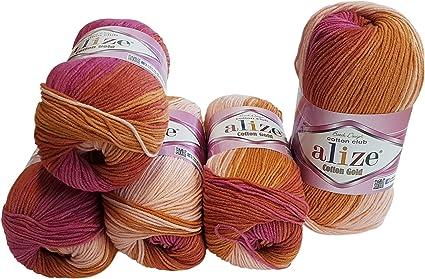 500 g Multicolore avec d/égrad/é de couleur Alize Cotton Gold Lot de 5 pelotes de 100/g de laine /à tricoter 55 /% coton