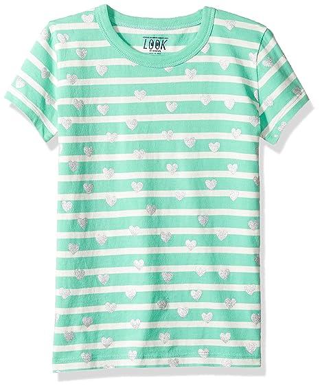 668167a1b99a5 LOOK by Crewcuts Girls' Short Sleeve Heart Stripe T-Shirt, Green/Silver