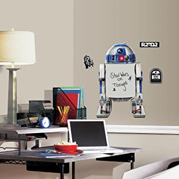 Roommates rmk3102gm star wars classic r2 d2 dry erase peel and stick giant wall decals