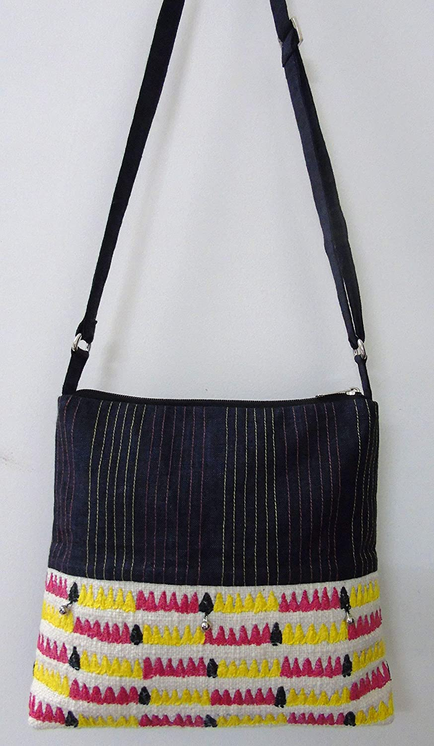 Panigha Handmade India Cotton Cross body/Sling Bag with multi color embroidery