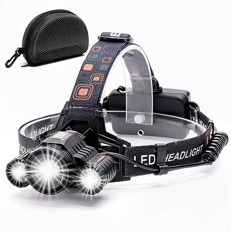 Headlamp,Cobiz Brightest 6000 Lumen CREE LED Work Headlight,18650  Rechargeable Waterproof Flashlight with