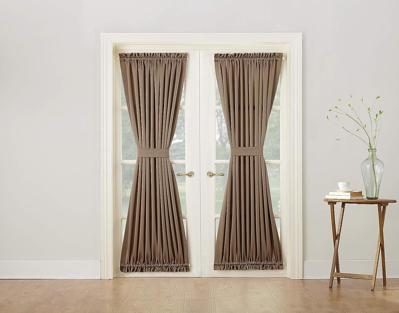 Sun Zero Barrow Energy Efficient Door Panel Curtain Tie Back Mocha Brown 54 X