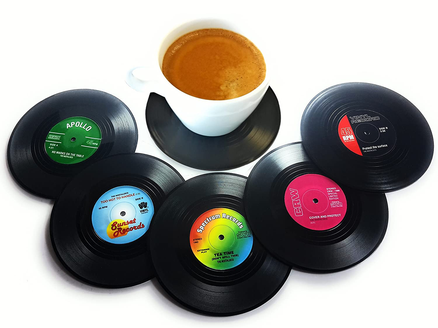 Vinyl Record Disc Coasters - Set of 6 with Funny, Colorful Labels
