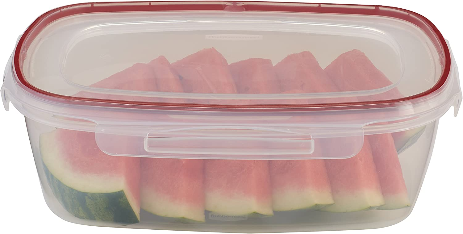 Rubbermaid Lock-Its Rectangular Food Storage Container with Easy Find Lid, 2.5 Gallon, Racer Red 1778083